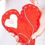 červené ruční srdce — Stock fotografie