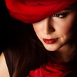 Woman with red rose — Stock Photo #19967915