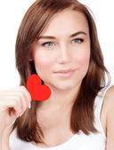 赤いハートを持つ女性 — ストック写真