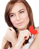 Female with red paper heart — Stock Photo