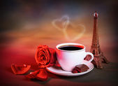 Morning tea in Valentine day — Stock Photo