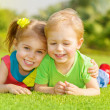 Happy children in park - Stockfoto