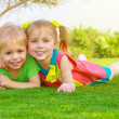 Two little kids in park - Stockfoto