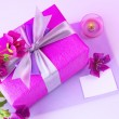 Pink gift box - Zdjcie stockowe