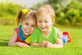 Happy children in park — Foto Stock