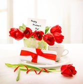 Fresh red tulips for mom — Stock Photo