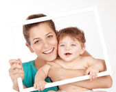 Lovely mom with baby boy — Stockfoto