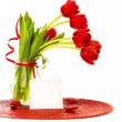Red tulips bouquet in vase — Stock Photo