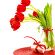 Red tulips with giftbox — Stock Photo #21647633