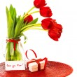 Red tulips with gift box - Zdjęcie stockowe