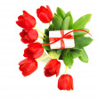 Red tulips with giftbox - Stock Photo