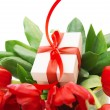 Stock Photo: Red tulips and white gift box