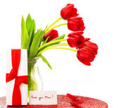 Red tulips for mother — Stock Photo