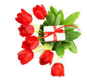 Red tulips with giftbox — Stock Photo
