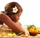 African woman at spa — Stock Photo