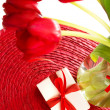 Stock Photo: Red tulips for mothers day