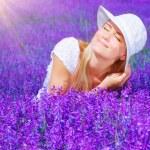 Beautiful female on lavender field — Stock Photo