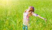 Woman having fun outdoor — Stock Photo