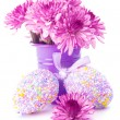 Easter eggs with pink flowers - Stock Photo