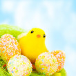 Easter still life outdoors — Stock Photo
