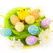 Easter eggs and cute chick — Stock Photo #23115274