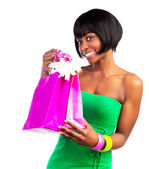 Black woman with shopping bag — Stock Photo