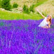 Cute female on lavender field — Stock Photo