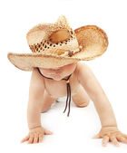 Baby boy wearing stetson hat — Stock Photo