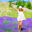 Girl on lavender glade — Stock Photo