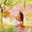 Stock Photo: Two lovers on picnic