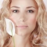 Attractive female with white calla — Stock Photo