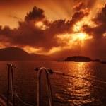 Yacht deck on sunset — Stock Photo