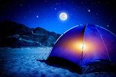 在晚上的营地 — 图库照片