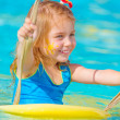 Baby girl in water park — Stock Photo