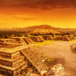 Pyramids of Mexico over sunset — Stock Photo