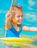Baby girl in water park — Stock Photo