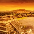 Stok fotoğraf: Pyramids of Mexico over sunset