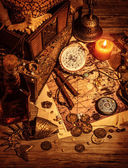 Pirates treasure still life — Stock Photo