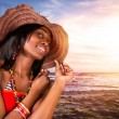 Sexy african woman on the beach — Stock Photo