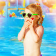 Baby girl in water park — Stock Photo #27145895