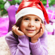 Happy little girl in Christmas eve — Stock Photo