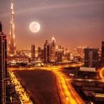 Dubai in moonlight — Stock Photo