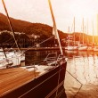 Yacht harbor on sunset — Stock Photo