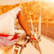 Woman relaxed on the yacht — Stock Photo