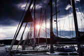 Yacht harbor at night — Stock Photo
