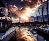 Yacht port on dramatic sunset — Stock Photo
