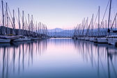 Yacht harbor in sunset — Stock Photo