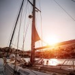 Luxury sailboat in sunset — Stock Photo
