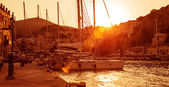 Sailboat harbor in sunset — Stock Photo