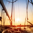 Sailboat in sunset light — Stock Photo